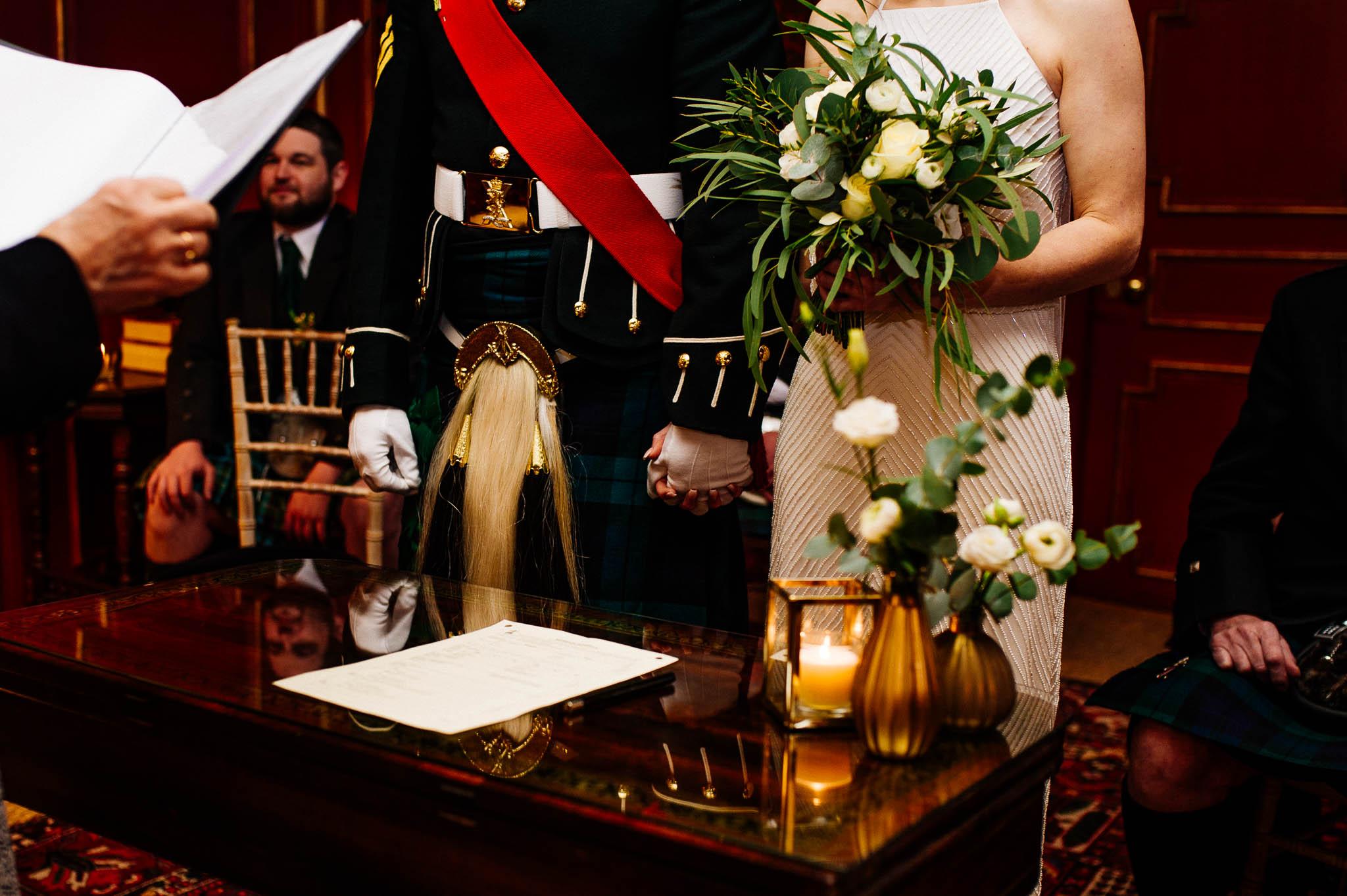 Szkocka Para Mloda podczas ceremonii subnej