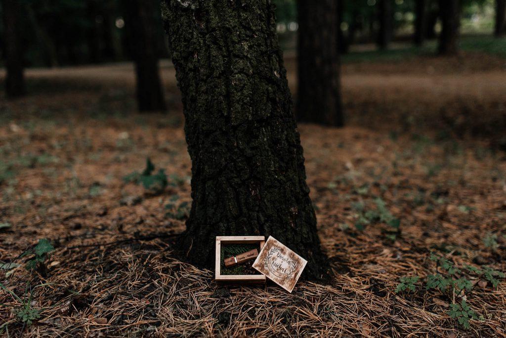 Zdjęcia ślubne na drewnianym nośniku USB w drewnianym pudełku